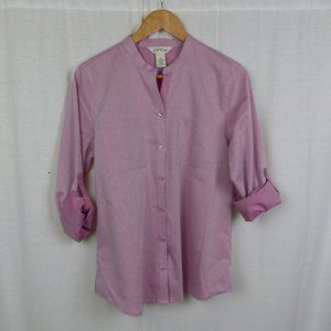 Orvis Pink Button Front Shirt Roll Tab Sleeves